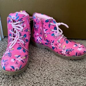 FabKids 5 Pink Floral Zip Lace Up Combat Boots